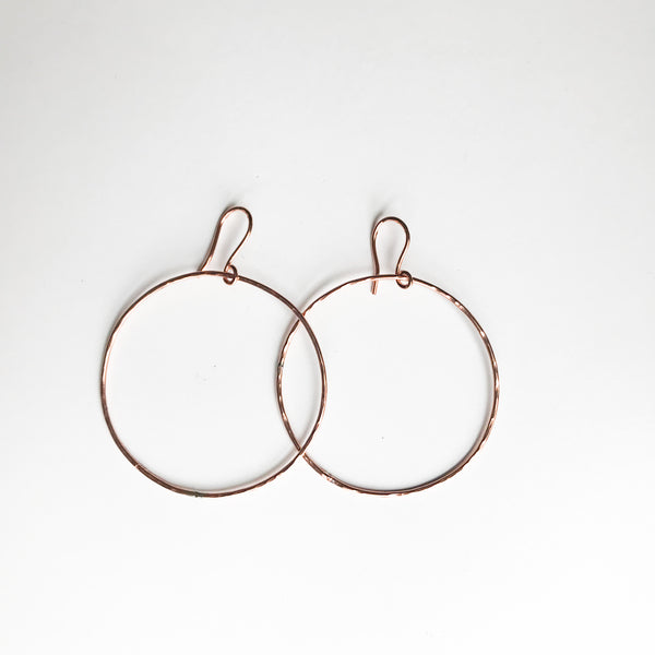 "Large Hammer Copper Hoop Earrings - 2"" - 3 Wide"