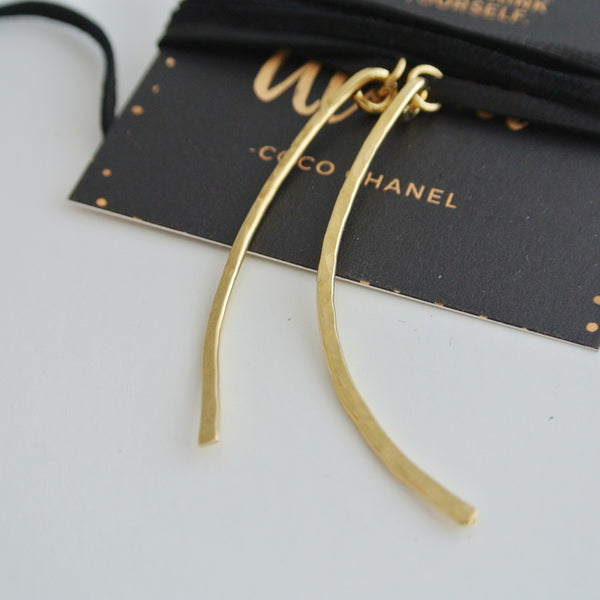 Curved Gold Brass and Black Leather Choker
