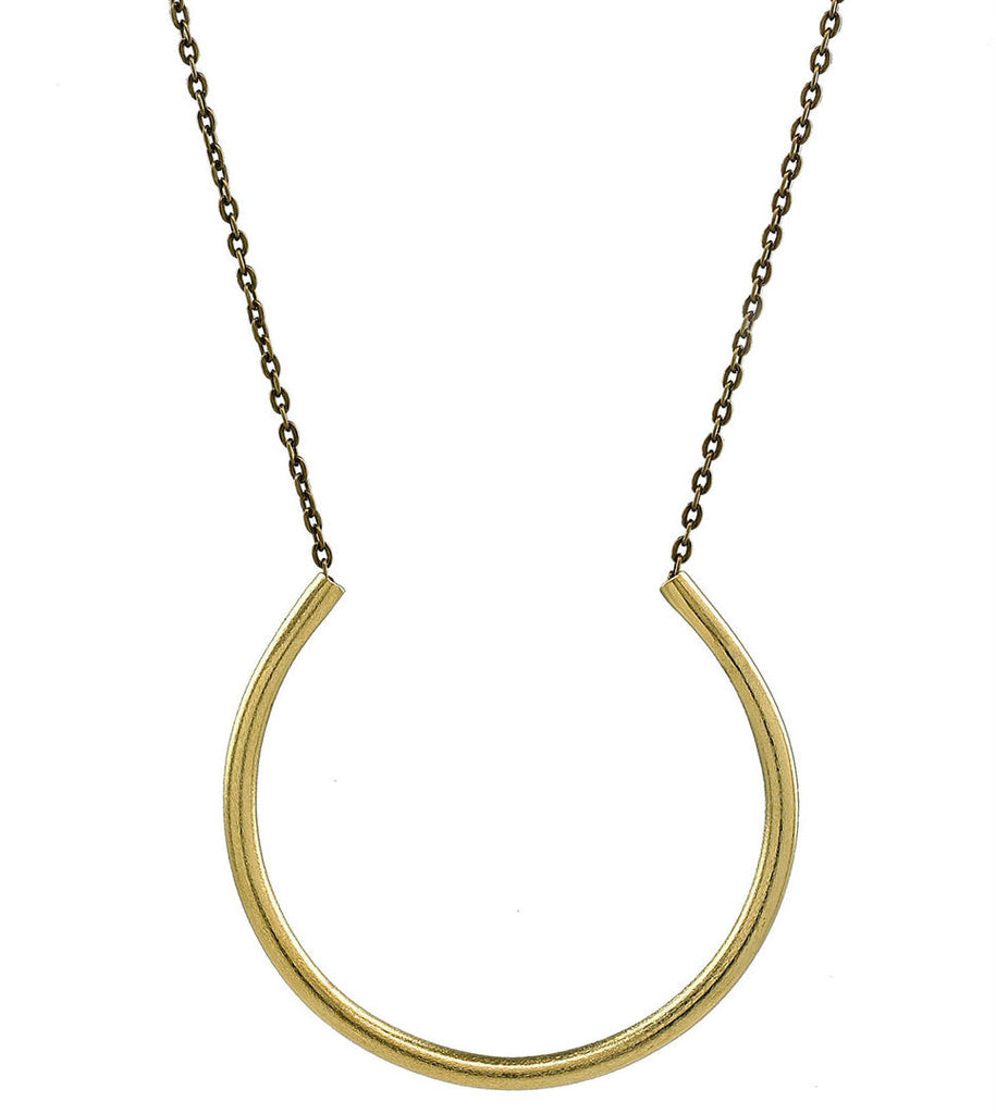Xena -Open Circle Gold Statement Pendant Necklace