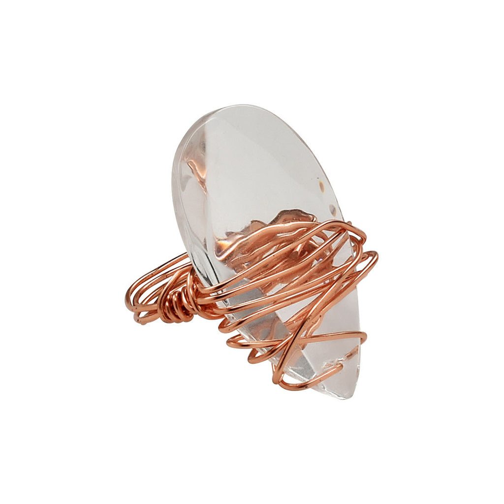 Kate - Copper Crystal Cocktail Statement Ring - The Pink Locket
