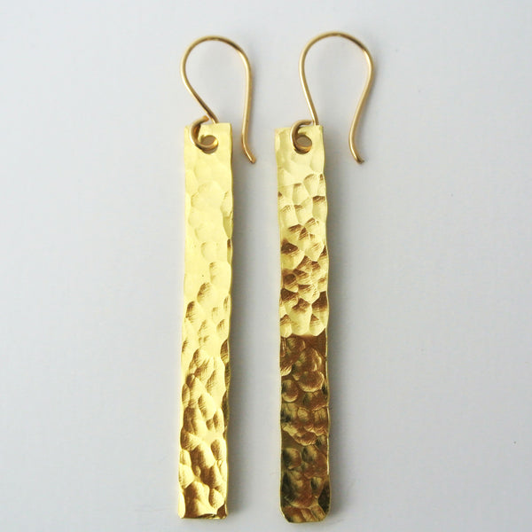 Sophie - Skinny Dangle Gold Earrings - The Pink Locket - 1
