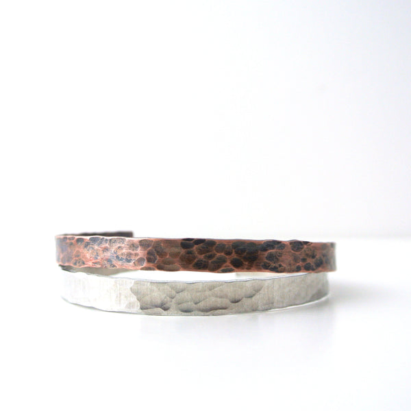 Downtown - Silver Hammered Cuff Bracelet for Men
