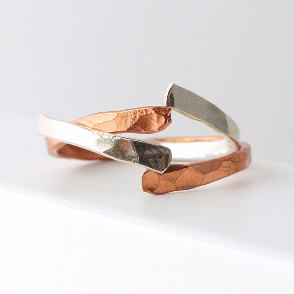 Copper Sterling Silver Stacking Ring Set Band - the pink locket