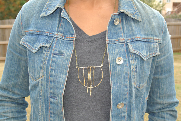 Dancing Necklace - Open Circle Geometric Gold Statement Necklace - The Pink Locket