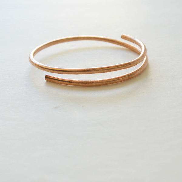 Dalia - Double Cuff Copper Bangle Bracelet - The Pink Locket - 2