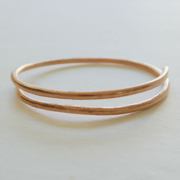 Dalia - Double Cuff Copper Bangle Bracelet - The Pink Locket - 5