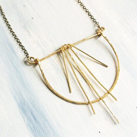 Dancing Necklace - Open Circle Geometric Gold Statement Necklace
