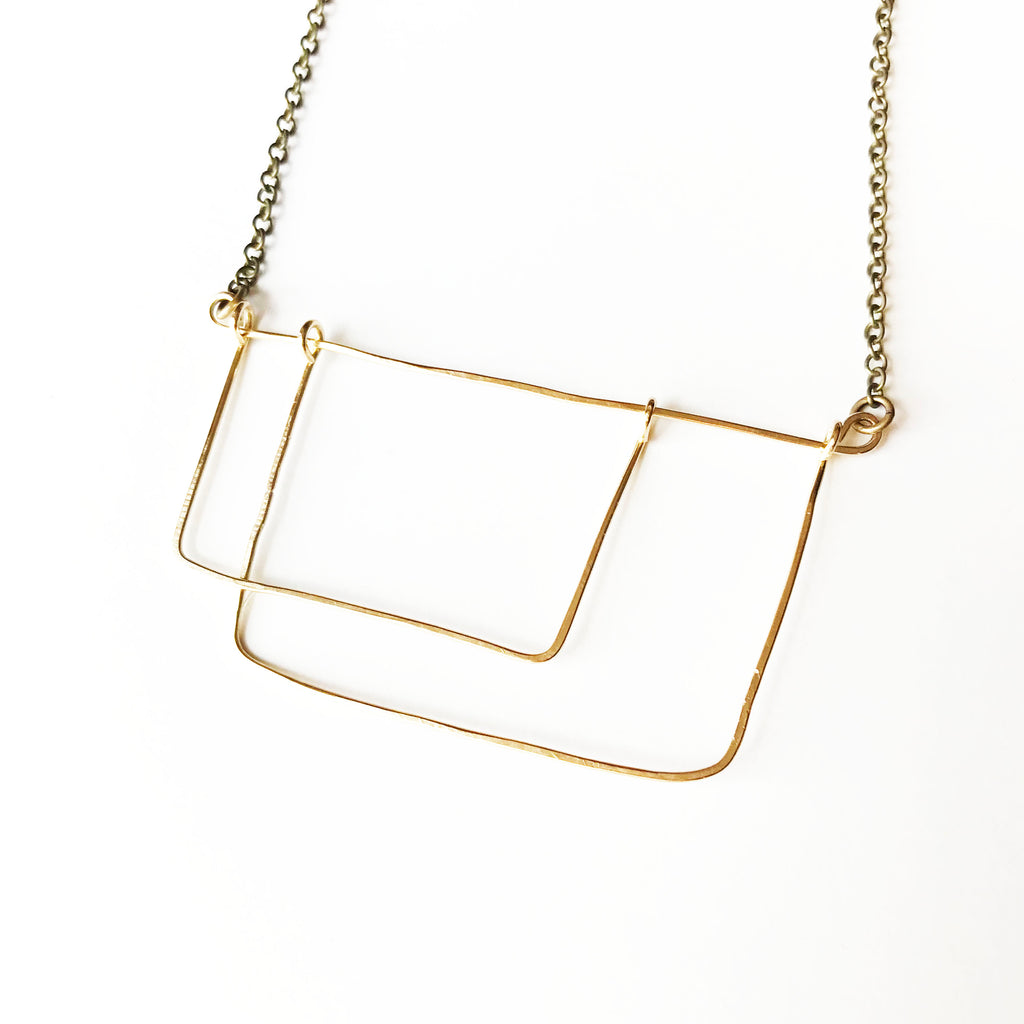 Dancing Necklace - Open Rectangle Geometric Gold Statement Necklace - The Pink Locket