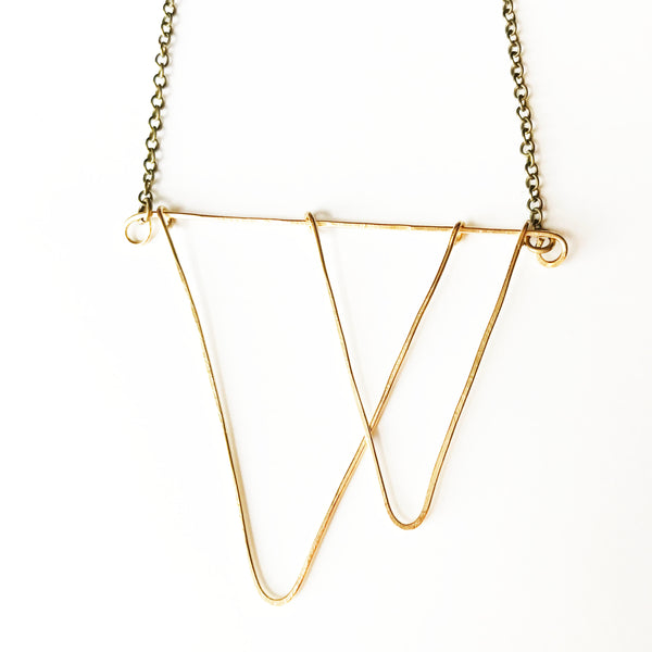 Dancing Necklace - Open Triangle Geometric Gold Statement Necklace - The Pink Locket