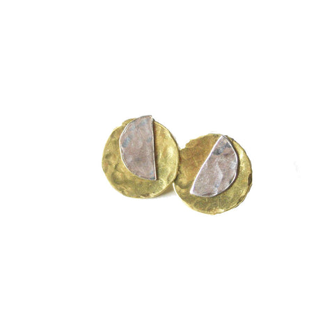 "Darlene Mini - Sterling Silver and Gold Ear Jacket Earrings 5/8"" Wide - The Pink Locket"