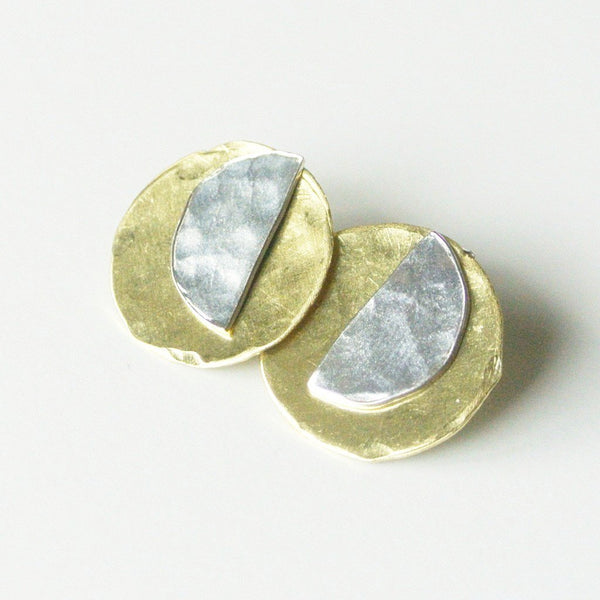 "Sterling Silver and Gold Ear Jacket Earrings 5/8"" Wide"