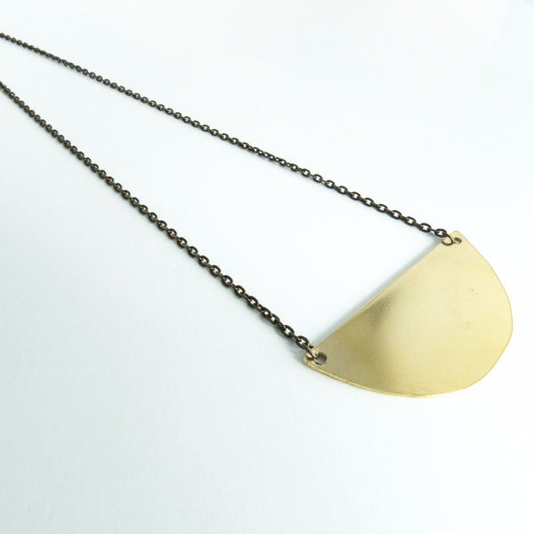 Gold Half Circle Geometric Necklace