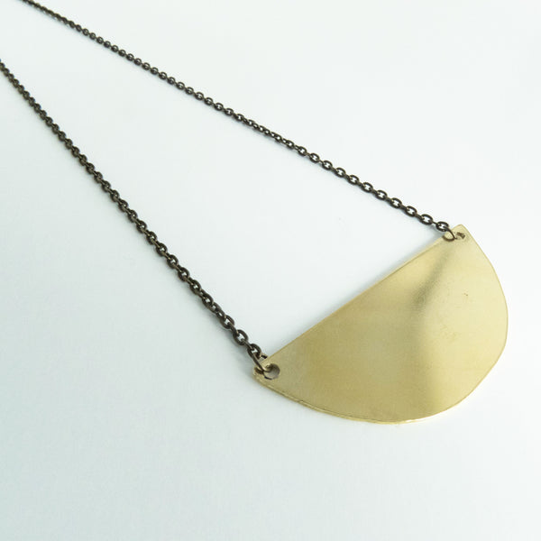 Denise - Gold Half Circle Geometric Necklace - The Pink Locket