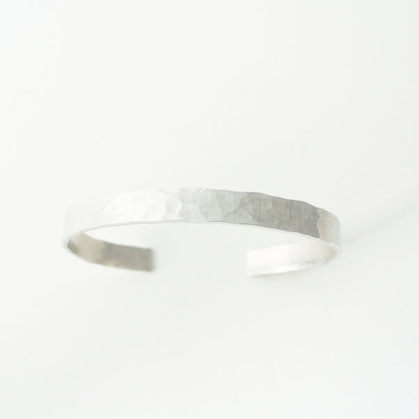 Downtown - Silver Hammered Cuff Bracelet for Men - The Pink Locket