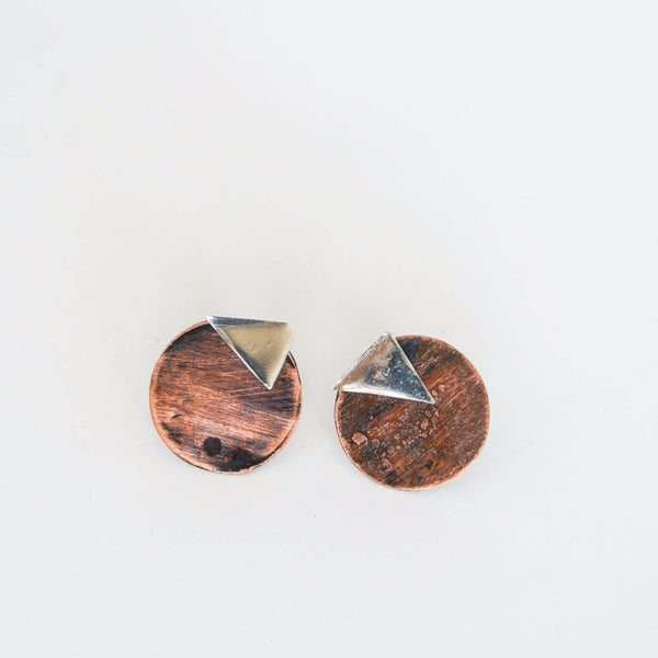 Ear Jacket Earrings - Two Tone Sterling Silver Oxidized Copper - The Pink Locket