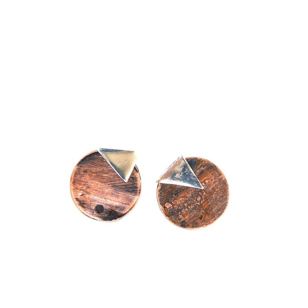 ear jacket earrings copper and sterling silver