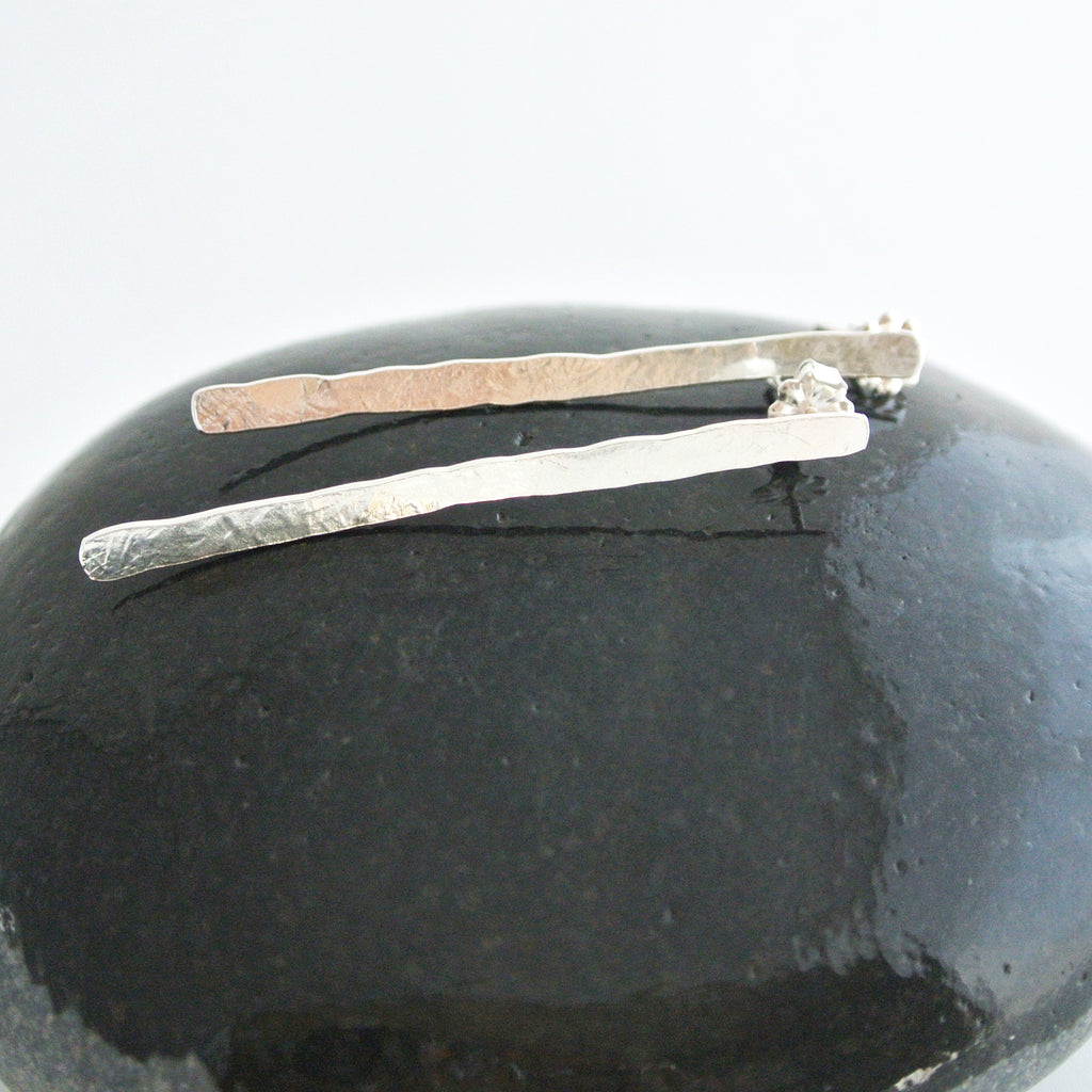 Erika - Match Stick Sterling Silver Dangle Stud Earrings