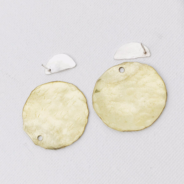 Sterling Silver and Gold Ear Jacket Earrings