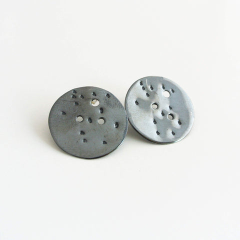 Gemini Zodiac Constellation Sterling Silver Disc Earrings