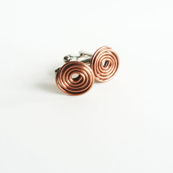 Geometric Floating Silver and Copper Cuff links - For Men - The Pink Locket - 2