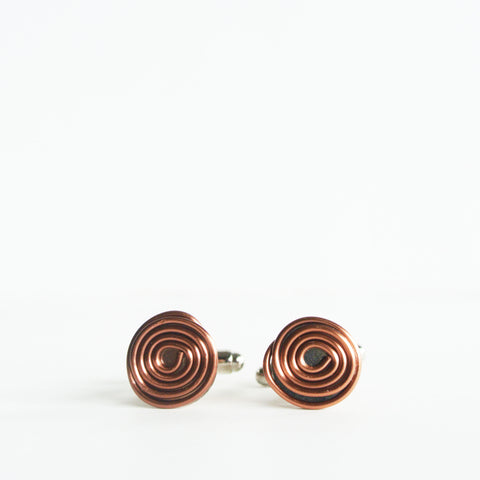 Geometric Floating Silver and Copper Cuff links - For Men - The Pink Locket - 1