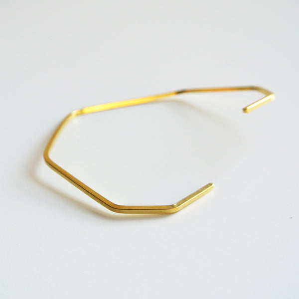 Ivy - Polygon Adjustable Brass Gold Cuff - Geometric Jewelry 2mm thick