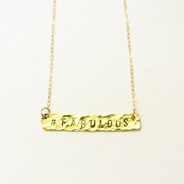 Hand Stamped Gold Bar Necklace - Horizontal Gold Bar - The Pink Locket - 1