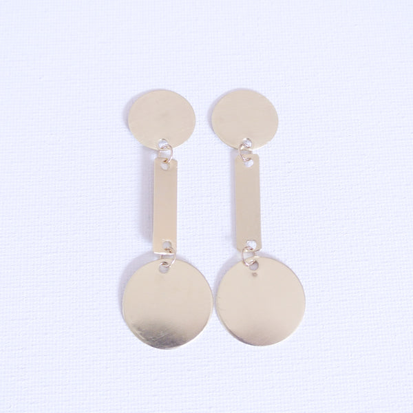 Gold Statement Disc and Rectangle Shaped Earrings