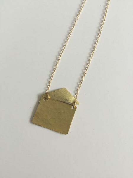 Gold Envelope Necklace - The Pink Locket - 3