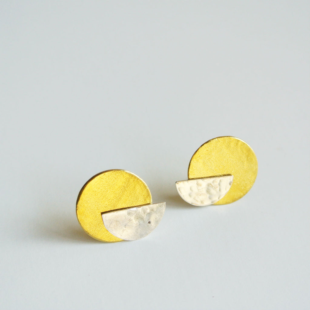 Half Moon Sterling Silver Stud with Gold Brass Disc Ear Jacket Earring 2