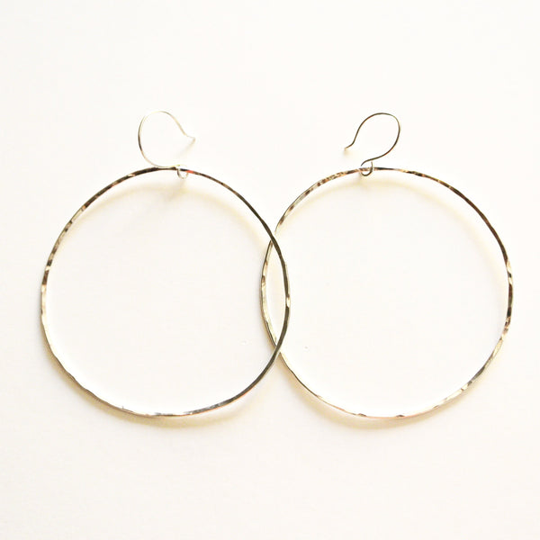 "Sterling Silver Metal Hoop Earrings - 2 1/4"" Wide"
