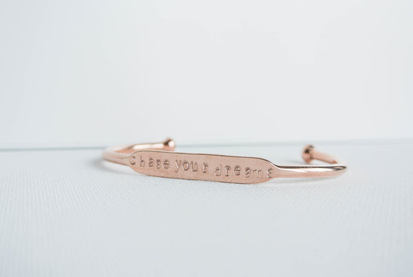 Inspirational Cuff Bracelet - Hand Stamped Copper Rose Gold Color - The Pink Locket