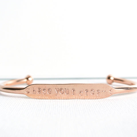 Inspirational Cuff Bracelet - Hand Stamped Copper Rose Gold Color