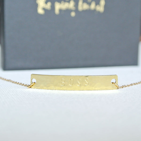Hand Stamped Gold Bar Personalized Bracelet - The Pink Locket
