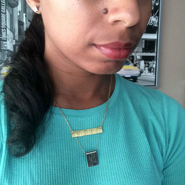 Hand Stamped Gold Bar Necklace - Horizontal Gold Bar - The Pink Locket - 2