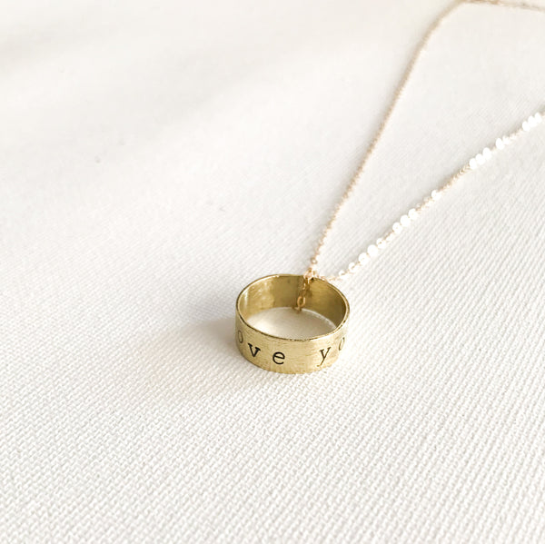 I Love You Gold Ring Pendant Necklace - 14kt Gold Filled Chain with Hand Stamped Ring - The Pink Locket