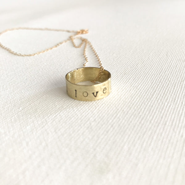 I Love You Gold Ring Pendant Necklace - 14kt Gold Filled Chain with Hand Stamped Ring