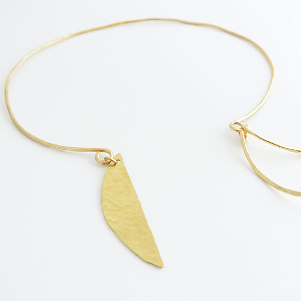 Imani - Brass Gold Geometric Choker Half Moon and Curved Bars