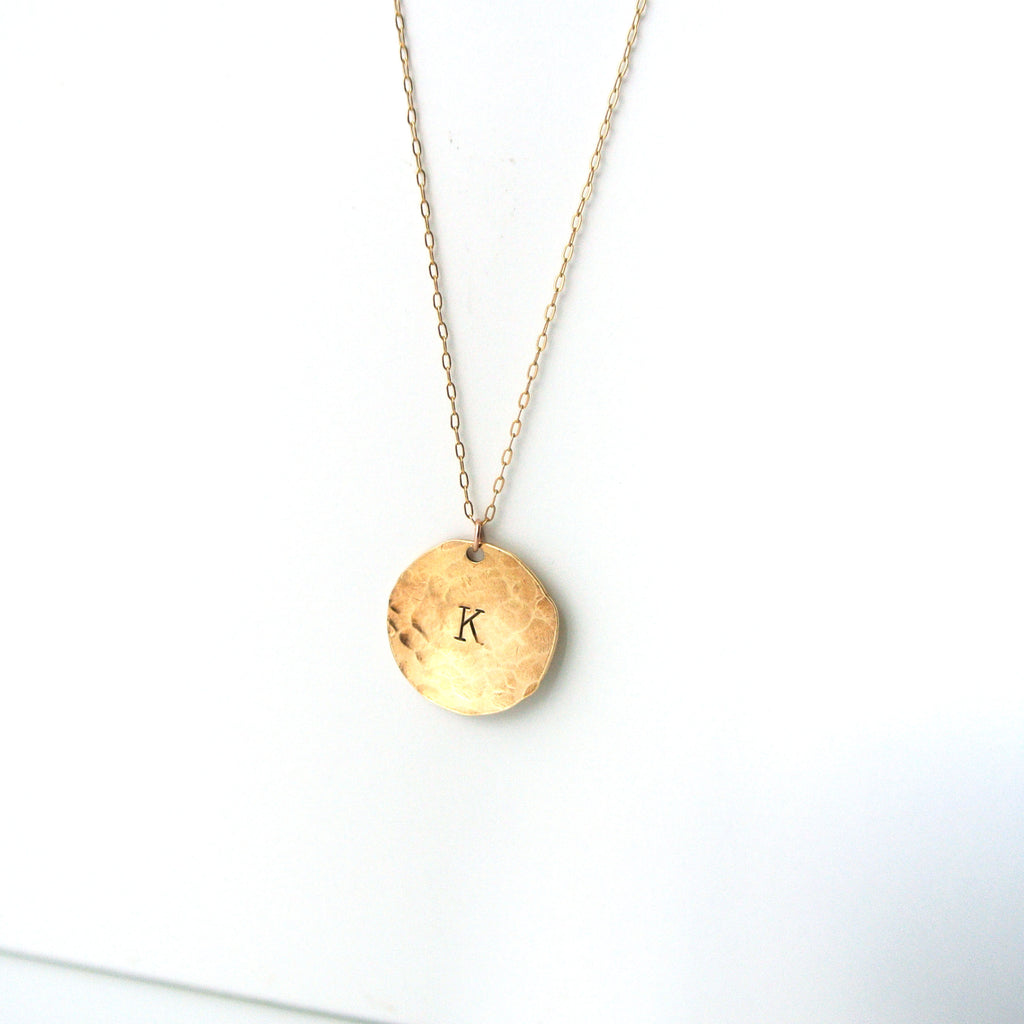 Hand stamped personalized gold initial pendant necklace the pink hand stamped personalized gold initial pendant necklace aloadofball Images