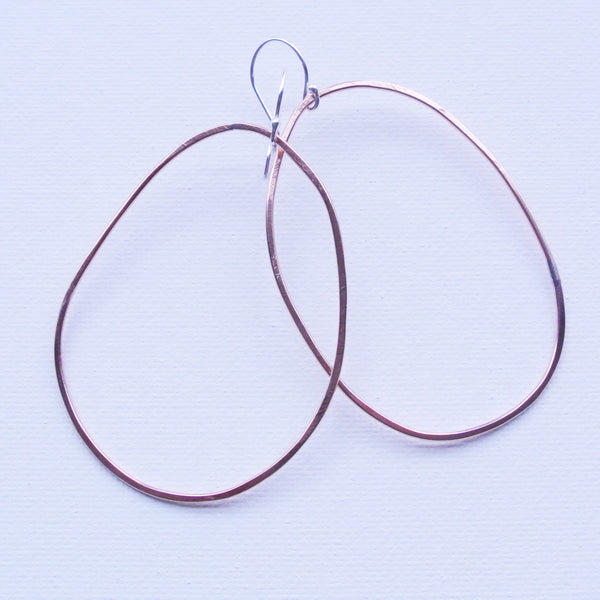 Large Hammered Copper Irregular Hoop Earrings - Sterling Silver Ear Wire