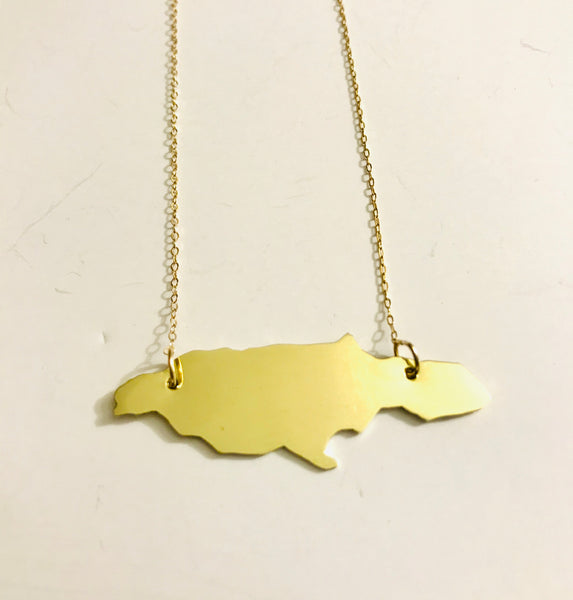 "Jamaica Island Plate Necklace - Brass Pendant - 14kt Gold-Filled Chain 18"" Long"