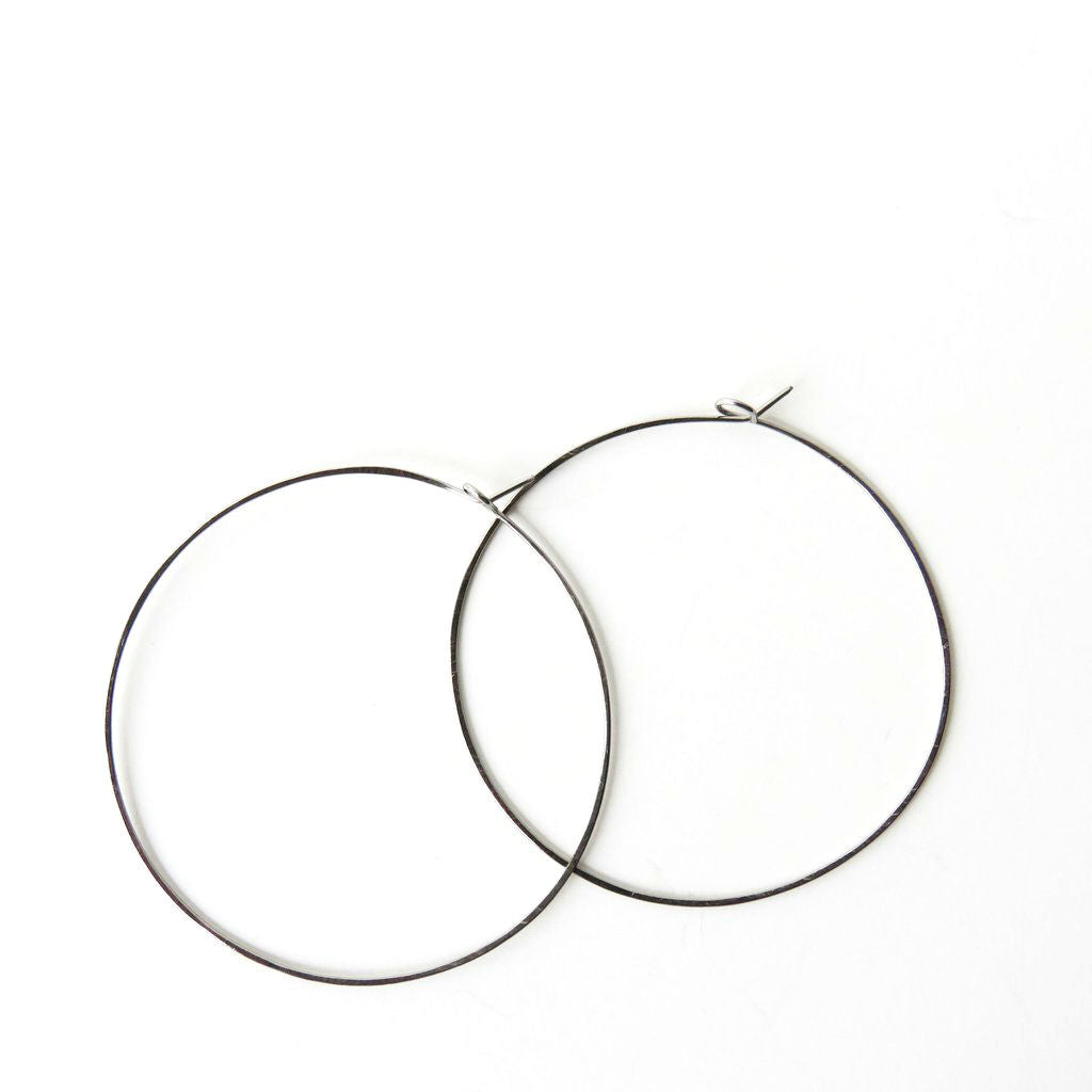 "Titanium Hoop Earrings - 2 1/4"" Wide - Nickel Free Earrings - The Pink Locket"
