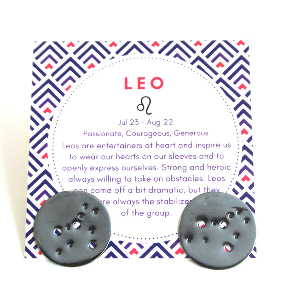 Leo Zodiac Constellation Sterling Silver Disc Earrings