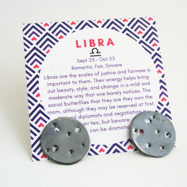 Libra Zodiac Constellation Sterling Silver Disc Earrings