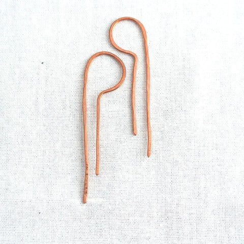 Lila - Copper Drop Threader Earrings