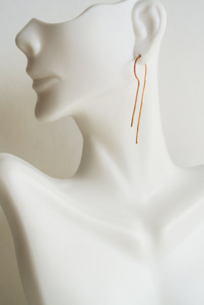 Lila - Copper Drop Threader Earrings - The Pink Locket - 4