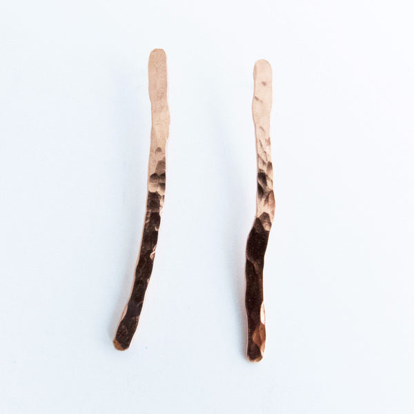Match Stick Copper Hammered Dangle Stud Earrings