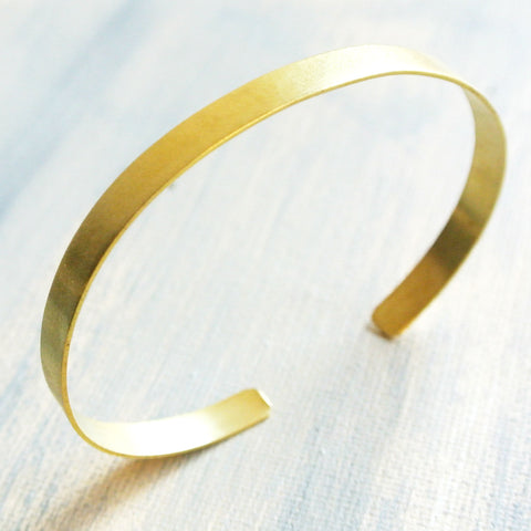 "Metro -  Gold Brass Brushed Cuff Bracelet for Men - .25"" Wide"