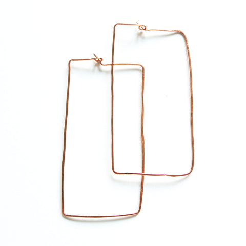 Mia - Rectangle Long Drop Geometric Earrings in Copper