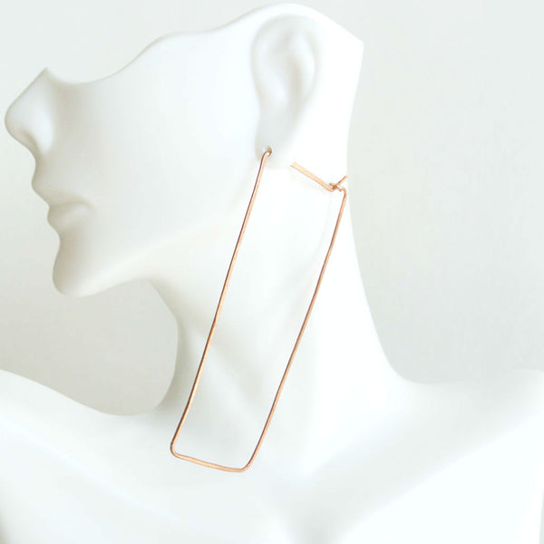 Mia - Rectangle Long Drop Earrings in Copper - The Pink Locket - 3